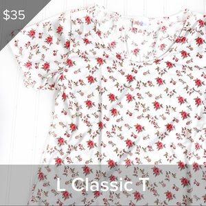 LuLaRoe L Vintage Floral Print Classic T